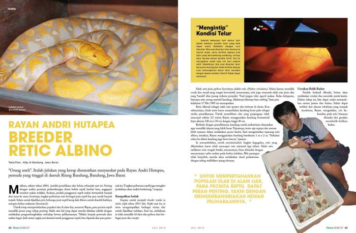 Teknik beternak ular Python, dalam Majalah Flona edisi 127, bulan Juli 2013.*