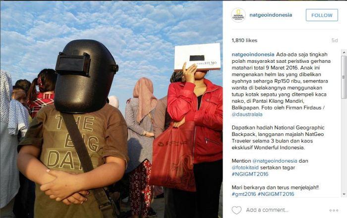 Mengenakan helm las untuk mengamati gerhana.* Source: instagram.com